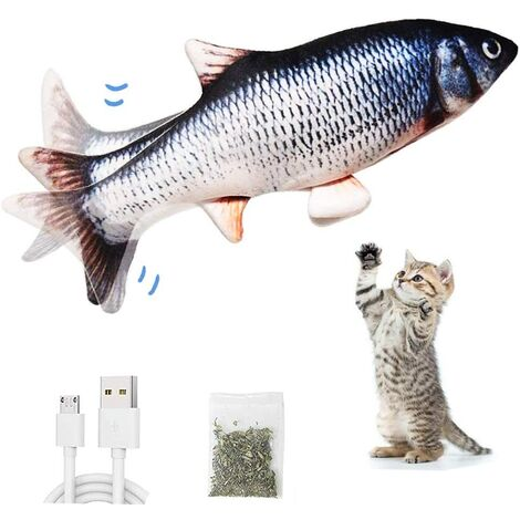 Cat Toy, Cat Toy Fish, Electronic Fish Toy with Catnip, Interactive Chewing Toy Cat Fish Toy, Kitten Toy, USB Charging, Washable, Bite, Chew