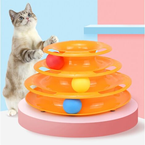 Cat Toy, Cat Toy, Turning Tray for Three-level Cat, Pet Kitten, Funny Cat Toy, Scratch Board, Sisal Toy, Random Color