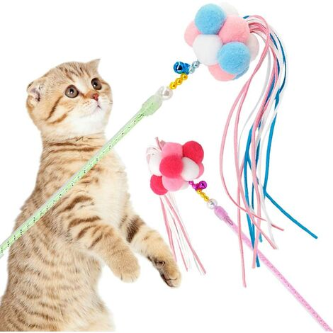 Cat toy interactive cat wand trailer 2 kitty toy cat sticks with balls, bells and tassels, let the cats and kittens have fun and exercise