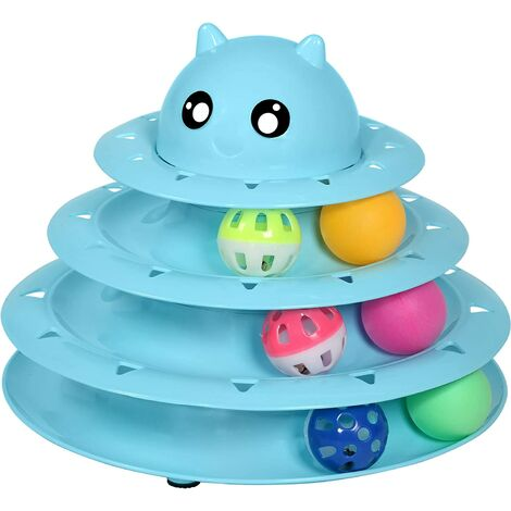 Cat Toy Roller 3-Level Turntable Cat Toy Balls with Six Colorful Balls Interactive Kitten Fun Mental Physical Exercise Puzzle Toys.