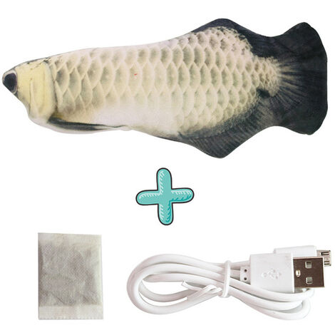 Cat Toy Simulation Fish Fish Electronic Couthern Toy Swing Fish Cat Toy USB Rechargeable Stirring Fish Cat Toy Silver Dragon Fish