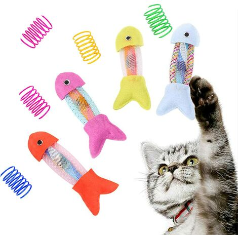 Cat Toys for Indoor Cats with Catnip, Cat Interactive Toys Cute Cat Fish Toy with Spring cat Toys for Cats Pets Kitten