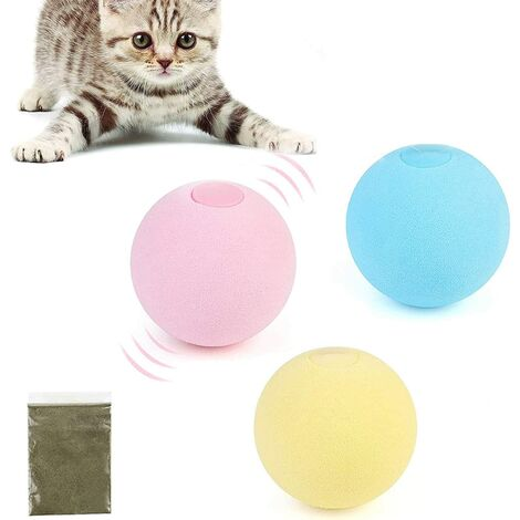 Cat Toys Interactive Cat Toy for Indoor Cats Catnip Toys for Kitten Kitty Toys 3Pcs Cat Ball with 3 Lifelike Animal Chirping Sounds