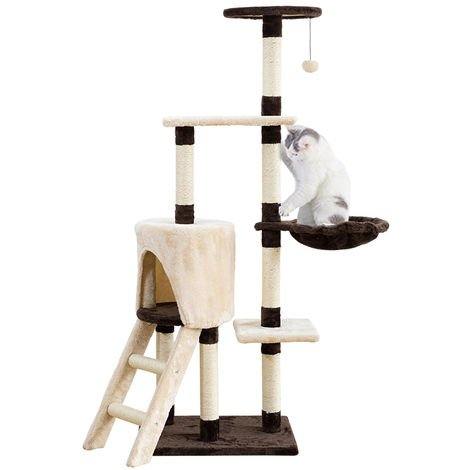 Cat Tree Cat Activity Tree Cat Scratching Tree (With 1 ball),Beige