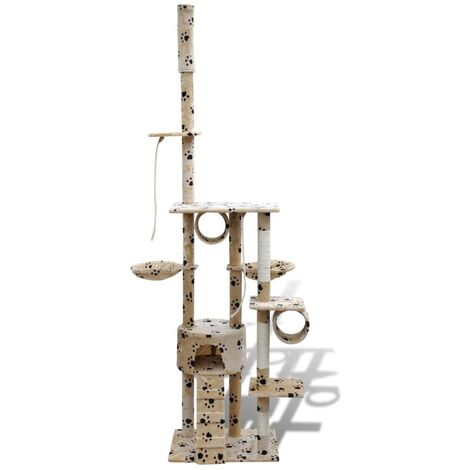 Cat Tree Cat Scratching Post 1 Condo Beige with Pawprints