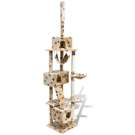Cat Tree Cat Scratching Post 3 Condos Beige with Pawprints