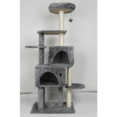 Cat tree, cave + lying + toy, gray, multilayer