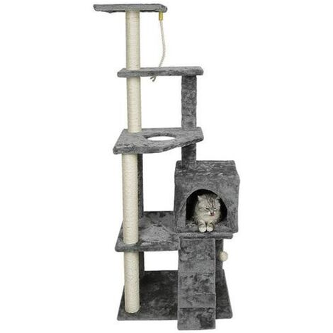 Cat tree , cave + lying + toy, multilayer (gray)