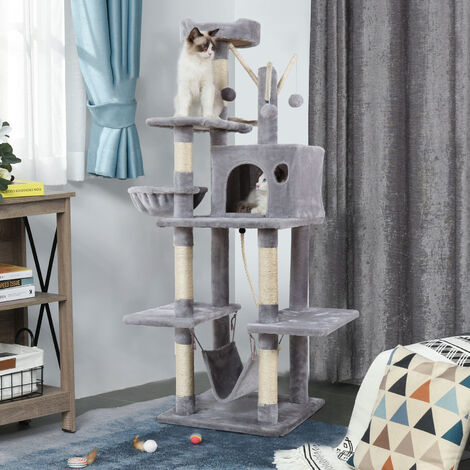 Cat Tree Condo Kitten Activity Tower With Swing Rope Sisal Scratching Post Hammock