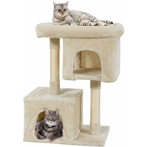 Cat Tree Deluxe Scratching Bed Scratcher Post Kitten Pet Play Tower Condo 82cm Beige