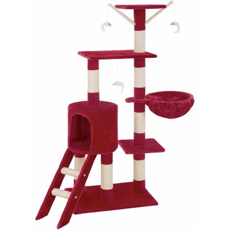 Cat tree Dominik - cat scratching post, cat tower, scratching post - burgundy