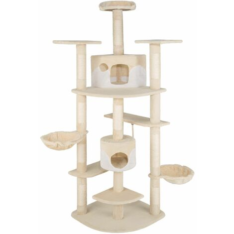 Cat tree Nelly - cat scratching post, cat tower, scratching post - beige/white - beige/bianco