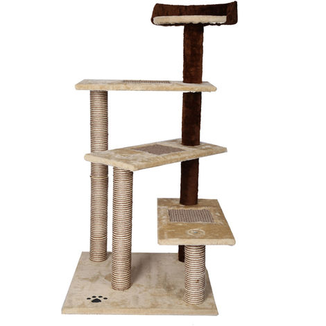 Cat Tree Scratching Post Climbing Tree 100cm Sisal in Beige/Brown with 4 Platforms