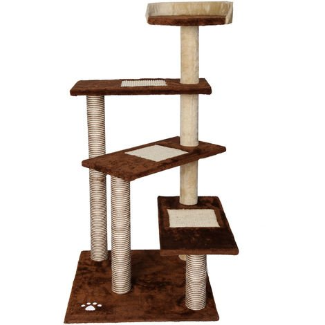 Cat Tree Scratching Post Climbing Tree 100cm Sisal in Brown/Beige with 4 Platforms
