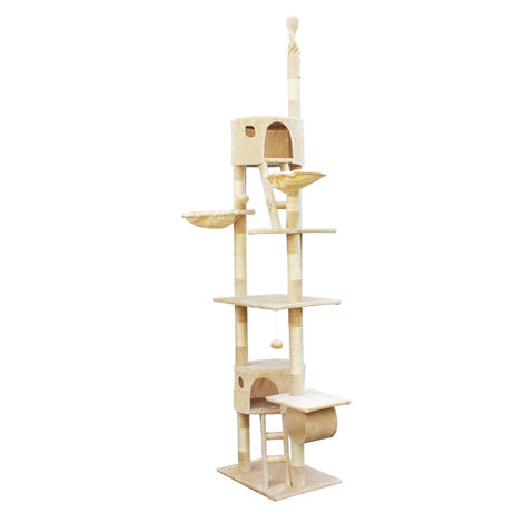 Cat Tree Scratching Post Climbing Tree 240-260cm in Beige with Caves, Hammocks and Platforms