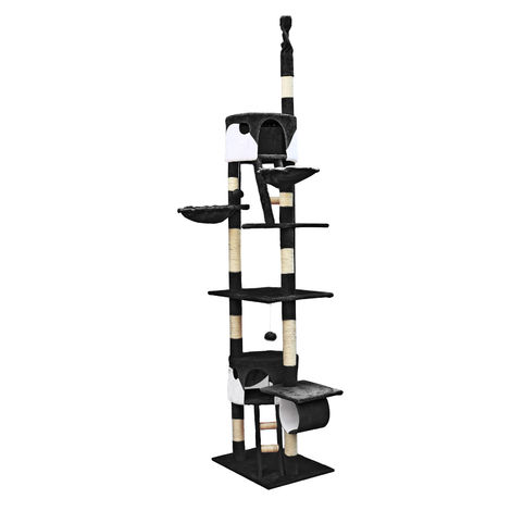Cat Tree Scratching Post Climbing Tree 240-260cm in Black/White with Caves, Hammocks and Platforms