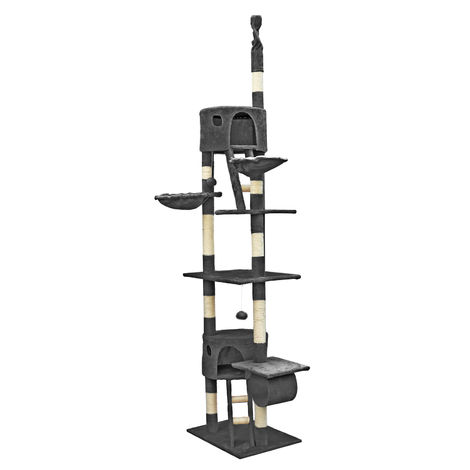 Cat Tree Scratching Post Climbing Tree 240-260cm in Dark-grey with Caves, Hammocks and Platforms