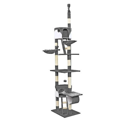 Cat Tree Scratching Post Climbing Tree 240-260cm in Grey/White with Caves, Hammocks and Platforms