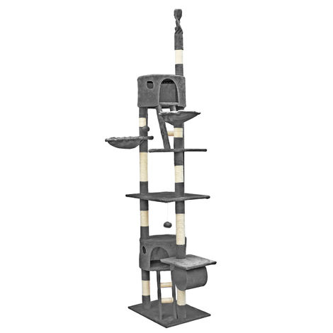 Cat Tree Scratching Post Climbing Tree 240-260cm in Grey with Caves, Hammocks and Platforms