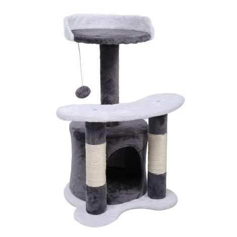 Cat Tree Scratching Post Climbing Tree 65cm in Grey/White with Plattform, Cave and Ball