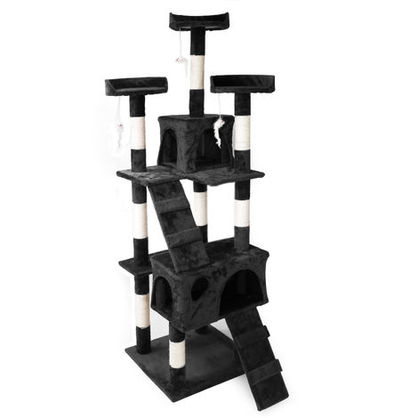 Cat Tree Scratching Post Climbing Tree in Black 170cm with Platforms Caves and Ramps