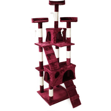 Cat Tree Scratching Post Climbing Tree in Wine Red 170cm with Platforms Caves and Ramps