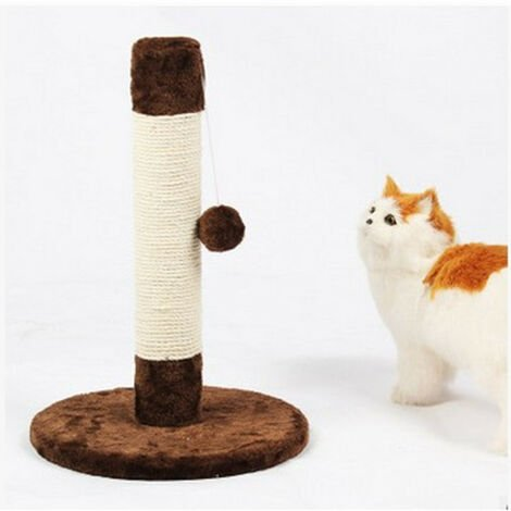 """main image of """"Cat Tree, Scratching Post Sisal Scraper Hanging Ball Post Sturdy Base Felines Small Kittens Activity Center Toys Frame Scratching Post Kitten Rope Wood, brown"""""""