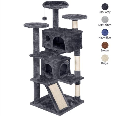 Cat Tree Stand with 2 Condos/ 3 Cat Scratching Posts/Perch/ 2 Platforms//Cat Scratching Board/Kitten Toy, Dark Grey