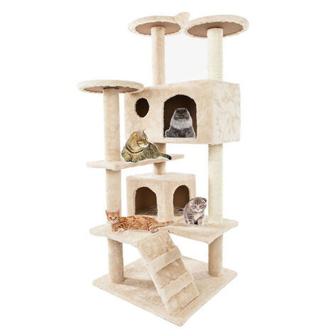 Cat Tree Tower, 132cm Cat Condo with Sisal Scratching Posts, Cat Play House and Rest Place, Beige