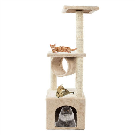 Cat Tree Tower, 91.5cm Cat Scratch Posts 3 Tier Cat Climbing Trees with 1 Room and Rest Place Activity Furniture Play House for Kitty Kitten, Beige