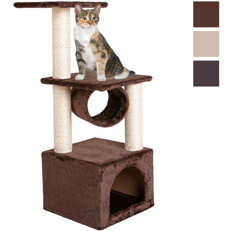 Cat Tree Tower, 91.5cm Cat Scratch Posts 3 Tier Cat Climbing Trees with 1 Room and Rest Place Activity Furniture Play House for Kitty Kitten, Brown