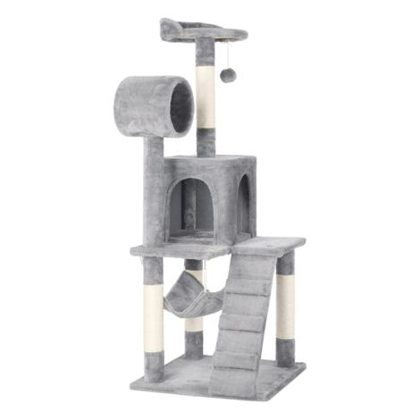 Cat Tree Tower Activity Centres Scratching Post with Tunnel/Condo/Hammock,Light Grey