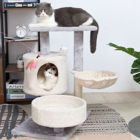 Cat Tree Tower Multilevel Cat Tree Condo Cat Climbing House with Soft Cozy Hammock, Kitten Play House Furniture