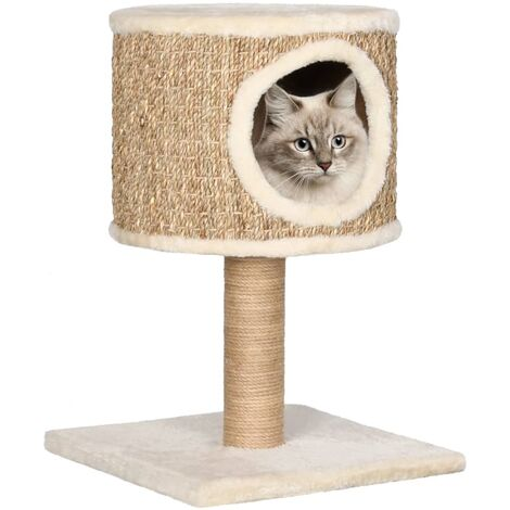 Cat Tree with Condo and Scratching Post 52 cm Seagrass