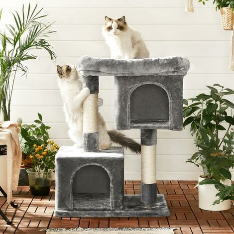 FEANDREA Cat Tree with Sisal-Covered Scratching Posts and 2 Plush Condos, Cat Furniture for Kittens Light Grey by SONGMICS PCT61W - Gris Claro