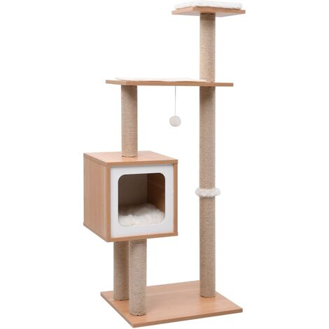 Cat Tree with Sisal Scratching Mat 123 cm - Brown