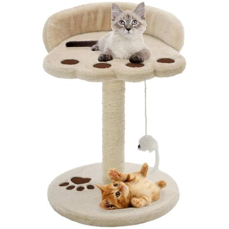 Cat Tree with Sisal Scratching Post 40 cm Beige and Brown - Beige
