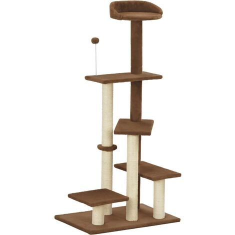 Cat Tree with Sisal Scratching Post Brown 125 cm