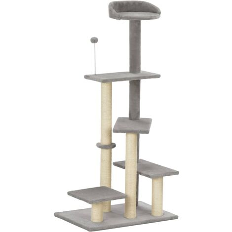 Cat Tree with Sisal Scratching Post Grey 125 cm - Grey