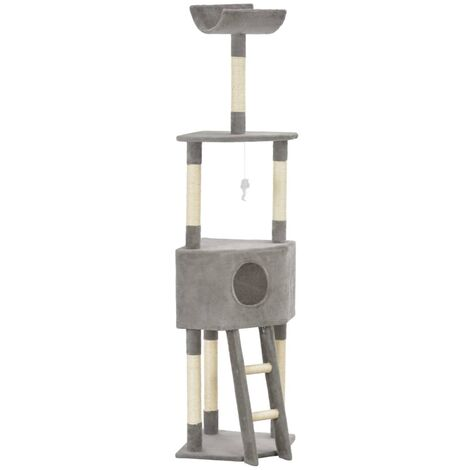 Cat Tree with Sisal Scratching Post Grey 180 cm - Grey