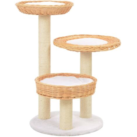 Cat Tree with Sisal Scratching Post Natural Willow Wood - Brown