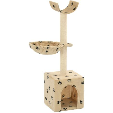 Cat Tree with Sisal Scratching Posts 105 cm Paw Prints Beige