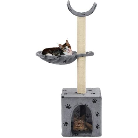 Cat Tree with Sisal Scratching Posts 105 cm Paw Prints Grey