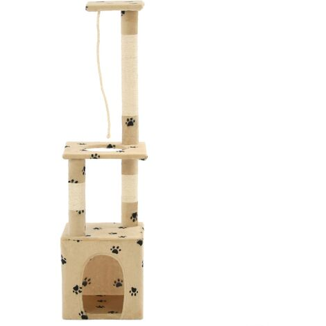 Cat Tree with Sisal Scratching Posts 109 cm Beige Paw Prints