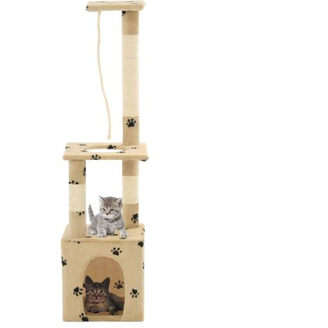 Cat Tree with Sisal Scratching Posts 109 cm Beige Paw Prints - Beige