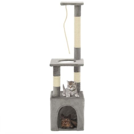 Cat Tree with Sisal Scratching Posts 109 cm Grey - Grey