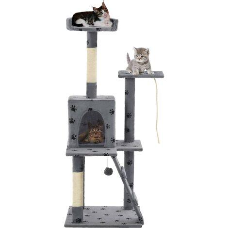 Cat Tree with Sisal Scratching Posts 120 cm Grey Paw Prints - Grey