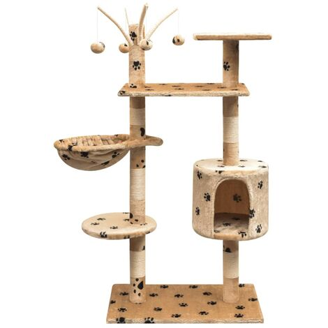 Cat Tree with Sisal Scratching Posts 125 cm Paw Prints Beige - Multicolour
