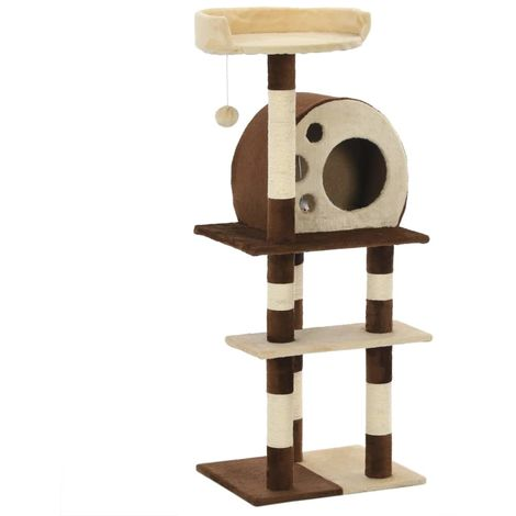 Cat Tree with Sisal Scratching Posts 127 cm Beige and Brown