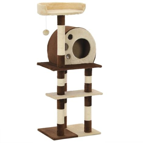 Cat Tree with Sisal Scratching Posts 127 cm Beige and Brown - Beige